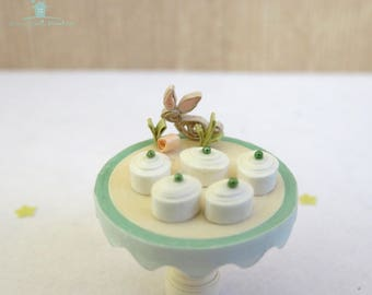 Handmade miniature petits fours - Dollhouse easter bunny cakes on cake stand - quilled miniature cakes