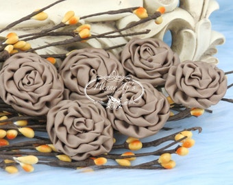 New: 6 pcs - TAN - 1.5 inch Adorable PETITE Matte Satin Rolled Rose Rosettes Fabric flowers. Mini Silk Rolled Rosette Appliques.