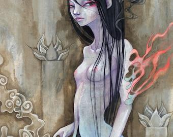 "A4 signed Fine Art Print ""Dream Eater III"" -lowbrow & pop surrealism art."