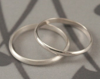 Simple Wedding Ring--2mm Plain Jane Ring--Sterling Silver Ring--Women's Wedding Ring--Half Round Band--Women's Wedding Band--Stacking Ring