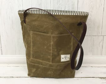 Waxed Canvas and Leather Tote Bag, Waxed Canvas Bag