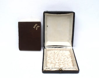 French Prayer Book Missel Christian Gilded Leather box book Monogram Lithographs  in original silk lined box