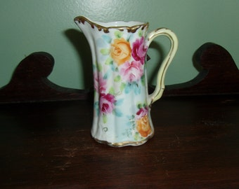 "4"" Porcelain Pitcher Hand Painted Roses"