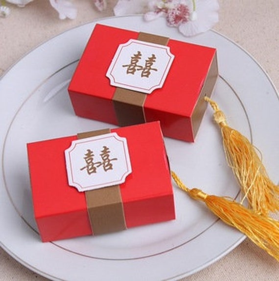 Set of 25 double happiness favor box chinese wedding favors red set of 25 double happiness favor box chinese wedding favors red gold gift favour candy box bridal shower diy do it yourself from dressyourcupcakes solutioingenieria Choice Image