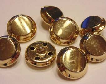 8 matching gold color vintage metal buttons, 20 mm (B1)