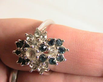 Ring, Flowered Blue and Clear Rhinestones, 3 Layer Atop White Gold Marked 18K H.G.E. Size 8