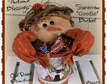 Primitive Scarecrow Pattern Autumn Blessings Scarecrow Goodie Bucket Fall Pattern