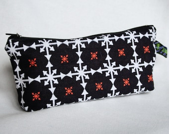 """Zipper pouch """"Ordered Chaos"""" - black, white, red punk goth cosmetic bag"""