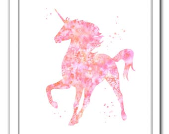 Unicorn printable art, unicorn Digital Download, coral pink unicorn print, unicorn instant download, unicorn nursery art, pink unicorn print