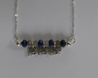 Triple Luck Elephant Necklace with Lapis and Labradorite