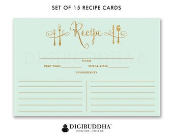 Recipe Cards Gift Set of 15 Recipe Cards Pack of 15 Recipe Cards Gift Set Mint and Gold Glitter Utensils Kitchen Modern Recipe Cards - Mila