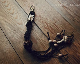 be wild // clip on charm - purse charm, key chain, tail, real bone, macrame