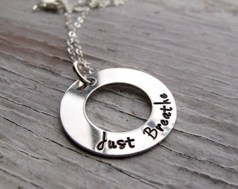 Just Breathe Jewelry, Inspirational Necklace, Yoga, Meditation, Exhale, Personalized, Sterling Silver