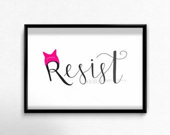 Resist Printable, Political Print, Political Art, Anti Trump Art, Kitty Hat Resist, Women's March, Feminist Print, Hand Drawn