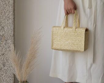 Straw bag - small, handmade purse, summer handbag, bolsa de paja, panier de paille, sac, Strohsack, halm taske.