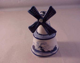 Delft Blue Pottery Hand Painted Windmill Bell Made in Holland