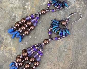 Moody Blues - Beaded Blue and purple Fringe Earrings by Hannah Rosner - Japanese seed beads and Czech pressed glass beads
