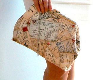 Mademoiselle postcards print purse-Vintage inspired handbag- Handmade romantic clutch- Chic cotton print purse- Fashion silver chain clutch