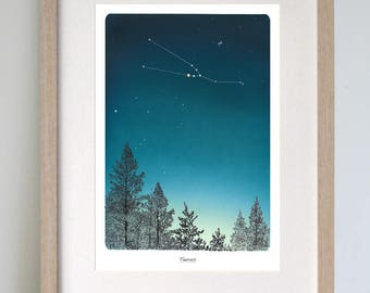 Taurus star sign print. Custom zodiac print also available. illustration of taurus star constellation. A lovely birthday gift for him or her