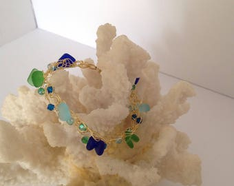 Gold filled crochet magnetic bracelet with  seaglass and Crystal's