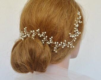 Baby's Breath Wedding Hair Vine, Pearl Bridal Headpiece, Pearl Bridal Hair Wreath, Swarovski Pearl Hair Vine, Wedding Hair Accessory, Halo
