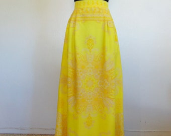 70s YELLOW sunshine Maxi skirt size medium