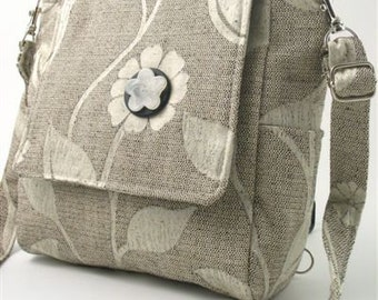 Grey backpack converts to messenger or tote bag ,purse, handbag, cross body bag with adjustable strap, tapestry bag, fit IPAD
