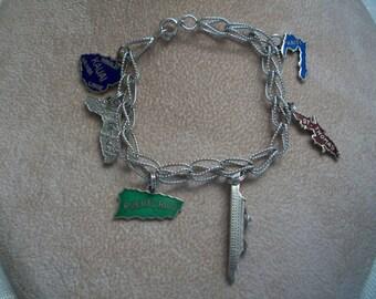 Bracelet Vintage, argent Sterling, croisière et voyage breloques, Bracelet de l'île de Nanas Boutique Vintage sur Etsy