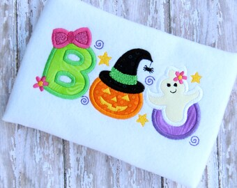 BOO appliqué shirt OR kitchen towel.  Monogrammed Halloween shirt or towel