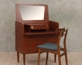 Teak dresser with hidden vanity