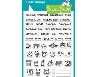 Daily Planner Lawn Fawn Plan On It: Vacation Clear Photopolymer Stamp Set