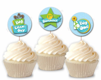 First Birthday Boy Cupcake Toppers, 1st Birthday Party or Food Picks, Set of 12  CT014