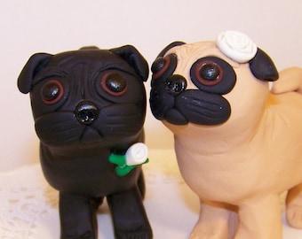 Custom Pug Dog Wedding Cake Topper - Colors of Choice