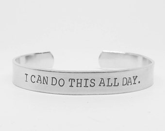 """Captain America Civil War quote aluminum cuff: """"I can do this all day"""" hand stamped avengers bracelet"""