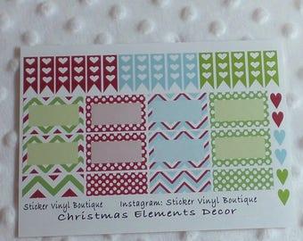 Daily planner stickers, Christmas stickers, functional stickers, heart checklist, heart flag banner sticker, Happy planner, Erin Condren