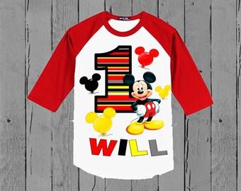 Mickey Mouse Birthday Shirt - Mickey Mouse Shirt - Mickey Baseball Shirt Available