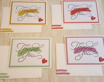 Handmade Stampin' Up! Thank You 4 Pack Cards