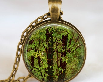 Green forest  necklace , woods tree painting art necklace, nature painting  pendant, tree nature jewelry, gifts for him, gifts for her
