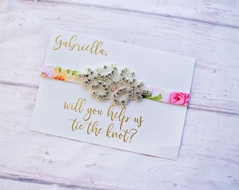 Will you help me tie the knot, Flower Girl Headband, Proposal Gift, Flower Girl Proposal Card, Bridal Crew Gift, Bridesmaid proposal card