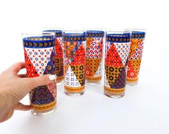 Vintage Patchwork Quilt Highball Drinking Glasses Vintage Barware Ice Tea Glasses Vintage Tumblers Federal Glass Pasinski Washington