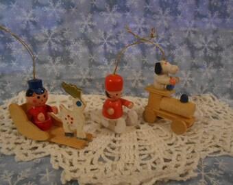 Vintage  Three Wooden  Christmas Ornaments---#EDD