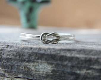 Double Knot Ring Sterling Silver Nautical Knot Ring