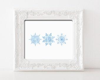 Watercolor Snowflakes Printable Wall Art Winter Decor Winter Print Watercolor Blue Snowflakes Print Christmas Print Snowflake Winter Print