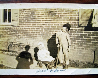 Shadow Nanny... 1920's Vintage Photo... Original Vintage Snapshot Photograph