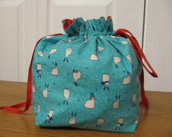 """Large Project bag with pocket - """"Snow Bunnies"""""""