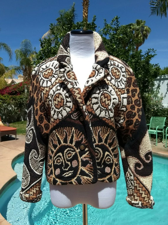 Vintage 90's Laguna Casuals Tapestry 100% Cotton Short Jacket,Size Large