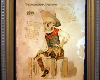 Antikamnia Calendar Skeleton Illustration Cowboy Rough Rider Art Print-  on Tea Stained Paper- dog art - dog gifts -- graduation gift