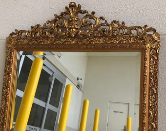 Gold Ornate Baroque Overmantle Mirror | Gold Gilt Ornate Mirror | Vintage Gold Mirror