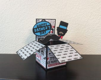 Father's Day Card/ Father's Day Box Card/ Mustache Card/ Mustache Father's Day Card/ Happy Father's Day
