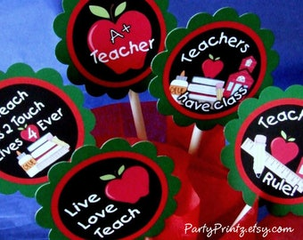 INSTANT DOWNLOAD - Printable Back to School - Teacher Appreciation Cupcake Toppers & Favor Tags